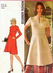 1970s Designer Midriff Dress Pattern SIMPLICITY 5789 Slit Neckline Flattering Flared Skirt Shaped Midriff Daytime or Evening Retro Dress Bust 34 Vintage Sewing Pattern FACTORY FOLDED