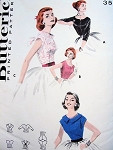 1950s Dreamy Blouse Pattern BUTTERICK 7682 Four Rockabilly Styles Bust 30 Quick n Easy Vntage Sewing Pattern
