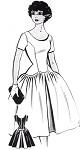 1950s Beautiful Party Cocktail Dress Pattern PATT-O-RAMA 1484 Scoop Neckline Petal Shape Lower Waist Full Skirt Optional Flirty Back Bow Bust 32 Vintage Sewing Pattern