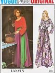 1970s Vogue Paris Original 2611 Pattern Lanvin Hip Maxi Peasant Boho Style Dress Scoop Neck Evening or Lounging Bust 32.5 Vintage Sewing Pattern UNCUT