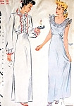 1940s High Waisted Nightgown Lingerie Pattern SIMPLICITY 1136 Two Pretty Styles Bust 32 Vintage Sewing Pattern FACTORY FOLDED