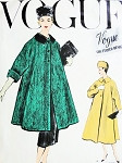 1950s Pure Elegance SWING Coat and Slim Skirt Pattern VOGUE COUTURIER DESIGN 986 Beautiful Full Coat or Jacket Built Up Waist Slim Skirt Bust 32 Vintage Sewing Pattern