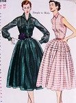 1950s Lovely Dress Pattern SIMPLICITY 3848 Daytime or Party Evening 2 Style Versions Simple To Sew Bust 34 Vintage Sewing Pattern FACTORY FOLDED