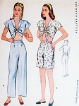 1940s KITTENISH Lingerie or Beachwear Pattern McCALL 6310 WW II War Time Starlet Pinup Style Tied Cropped Top Pajamas Midriff Blouse High Waisted Shorts Pants Bust 36 Vintage Sewing Pattern