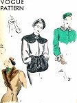 1940s  FILM NOIR Glamorous Fur Coat Collars and Muff Pattern VOGUE 6163 Three Styles Plus Cuffs Luxurious Fur Muff Bust 34 Vintage Sewing Pattern
