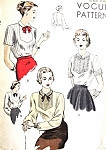 1940s PRETTY Blouse Pattern VOGUE 6313 Three Lovely Styles  Includes Peter Pan Collar Button Back Blouses So Kate Hepburn Bust 34 Vintage Sewing Pattern