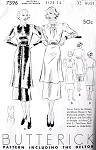 1930s FAB Tunic Frock Dress Pattern BUTTERICK 7596 ART DECO Tunic Blouse In 2 Styles KEYHOLE Neckline Bust 32 Vintage Sewing Pattern FACTORY FOLDED