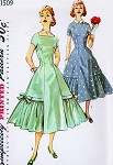 1950s Pretty Party Cocktail Dress Pattern SIMPLICITY 1509 Princess Line Dress Detachable Collar Flounced Full Skirt Bust 34 Vintage Sewing Pattern