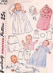 1940s BEAUTIFUL Baby Layette Pattern SIMPLICITY 2656 Christening Gown, Bonnet Cap,Slip, Nightgown, Bunting Etc Vintage Sewing Pattern