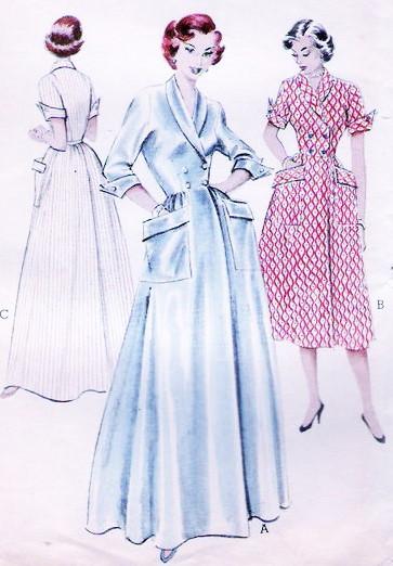 1950s LOVELY Housecoat Brunch Hostess Robe Pattern BUTTERICK 6418 ...