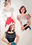 1940s ROMANTIC Peasant Blouses Pattern SIMPLICITY 2034 Three Pert Styles Bust 34 Vintage Sewing Pattern