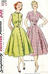 1950s PRETTY Day Dress Pattern SIMPLICITY 3851 Peter Pan or V Neckline Full Skirt Dress Front Button Bust 32 Vintage Sewing Pattern FACTORY FOLDED