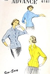 1950s Fitted MIDDY Blouse Pattern Sew Easy ADVANCE 6181 Flattering Wing Collar Overblouse Bust 29 Vintage Sewing Pattern FACTORY FOLDED