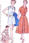 1950s BeachWear Pattern SIMPLICITY 4289 Weekend Wear Rompers Beach Playsuit and Full Front Button Skirt Bust 36 Vintage Sewing Pattern