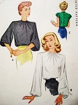 Lovely 1940s BLOUSE Pattern McCALL 6569 Button Back Blouse 3 Sleeve Styles Day or After 5 Bust 30 Vintage Sewing Pattern