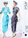 1940s GLAMOROUS Dinner Party Dress Pattern McCALL 7345 Eye Catching Double Draping Special Cocktail Evening Dress Bust 38 Vintage Sewing Pattern