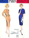 1950s  DESSES Classy Slim Dress Pattern VOGUE PARIS Original 1441 Daytime or Cocktail Dinner Party Bust 34 Vintage Sewing Pattern