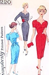 1950s Stunning SWEETHEART Neckline Cocktail Party Dress Pattern SIMPLICITY 3220 Slim Wiggle Dress 3 Style Versions Bust 36 Vintage Sewing Pattern FACTORY FOLDED