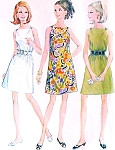 1960s CUTE A line Dress Pattern McCalls 9297 Shoulder Buttons Loose or Belted Bateau Neckline Easy To Sew Bust 34 Vintage Sewing Pattern