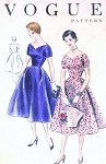 1950s FLATTERING Dress Pattern VOGUE 8379  Wide V Neckline Fitted Bodice Full Skirt Daytime or  Cocktail Party Bust 34 Vintage Sewing Pattern