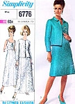 1960s CLASSY Evening Dress and Jacket Pattern SIMPLICITY 6776 Figure Flattering Princess Seams Formal or Short Cocktail Party Length Bust 34 Vintage Sewing Pattern