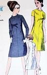 MOD 60s Dress Pattern VOGUE 7137 Bias Collar Princess Seam Dress Button Back Day or Cocktail Evening Bust 32 Vintage Sewing Pattern