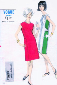 1960s UNIQUE Mod Dress Pattern VOGUE YOUNG FASHIONABLES 6736 Eye Catching Panel Sides Day or Cocktail Dress Bust 32 Vintage Sewing Pattern FACTORY FOLDED