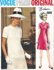 60s Balmain Dress Pattern Vogue Paris Original 2060 Lovely High Fitted A Line Dress With Front Seam Interest Day or Evening Size 8 Vintage Sewing Pattern