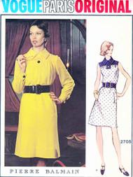 1970s Pierre BALMAIN Loose Fitting Dress Pattern VOGUE Paris Original 2705 Stylish Day Dress Size 10 Vintage Sewing Pattern FACTORY FOLDED