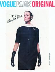 1960s STYLISH Vintage DIOR Dress Pattern VOGUE Paris Original 1646 Loose Fitting Slim Dress Easy Day To Evening Size 10 Vintage Sewing Pattern