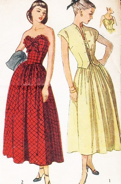 1940s ROMANTIC Strapless Party Prom Evening