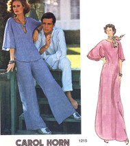 Vogue 1215 American Designer Very Easy Boho Tunic, Pants and Caftan Dress Carol Horn Retro 1970s Vintage Sewing Pattern Bust 34 FACTORY FOLDED