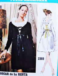 Mod 60s Vogue Americana 2369 Designer Oscar de la Renta Eye Catching Lace Up Bodice Lace Edge Neckline Bust 34  Vintage Sewing Pattern FACTORY FOLDED