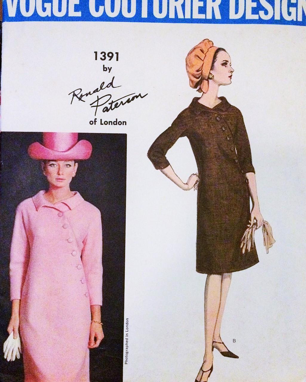 3c60df13c10 1960s STRIKING Ronald Paterson Asymmetrical Dress Pattern VOGUE ...