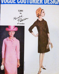 1960s STRIKING Ronald Paterson Asymmetrical Dress Pattern VOGUE COUTURIER Design 1391 Totally Classy Bust 32 Vintage Sewing Pattern
