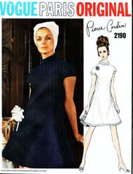 MOD 60s PIERRE CARDIN Dress Pattern VOGUE PARIS Original 2190 Size 8 Vintage Sewing Pattern