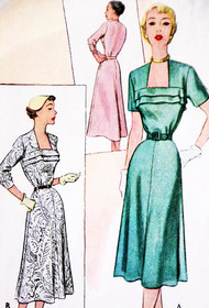 50s Beautiful Dress Pattern McCALLS 8514 Striking Neckline Daytime or Cocktail Dress Bust 34 Vintage Sewing Pattern FACTORY FOLDED