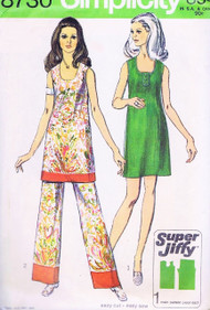 1970s MOD Tunic or Dress and Pant Pattern SIMPLICITY 8730 Boho Easy To Sew Bust 40 Vintage Sewing Pattern UNCUT