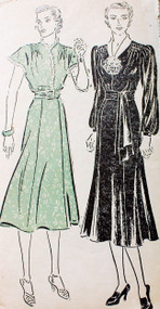 1930s LOVELY Dress Daytime or Party Pattern NEW YORK 937 Two styles, Shirred Shoulders  Bust 34 Vintage Sewing Pattern FACTORY FOLDED