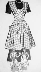 1940s PRETTY Full Bib Apron Pattern AMERICAN WEEKLY 3836 Size Small Vintage Sewing Pattern FACTORY FOLDED