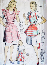 1940s SWEET Apron Pattern DuBARRY 5967 Four Styles WW II War Era Pinafore Style Heart Shape Bib and Half Aprons  Size Medium Vintage Sewing Pattern