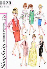 Original Vintage 60s BARBIE Doll Clothes Wardrobe Pattern SIMPLICITY 5673 Clothing To Make for Fashion Dolls Vintage Sewing Pattern UNCUT