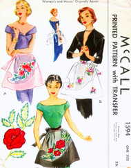 1950s Fancy Hostess Apron Pattern McCALL 1594 Perfect Hostess Half Apron Perfect For Organdy Fabric Includes Rose Applique One Size Vintage Sewing Pattern FACTORY FOLDED