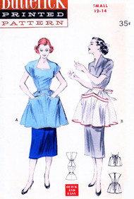 1950s Fancy Hostess Tea and Cobbler Aprons Pattern BUTTERICK 6341 Quick n Easy Aprons in Two Lovely Styles Size Small Vintage Sewing Pattern FACTORY FOLDED
