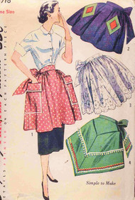 1950s PRETTY Half Aprons Pattern SIMPLICITY 3718  Simple To Make Four Styles In 3 Lengths Hostess to Work Aprons One Size Vintage Sewing Pattern