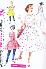 1950s FAB WRAP AROUND Dress, Tunic Top or Apron Pattern SIMPLICITY 1662 Simple To Make Figure Flattering Design Back Wrapped Full Skirt Bust 32 Vintage Sewing Pattern
