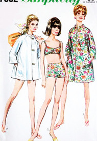 1960s MOD Beach Wear Pattern SIMPLICITY 7692 Cute Bikini Bathing Suit Swimsuit Beach Coat Cover Up  or Coat Dress Bust 38 Vintage Sewing Pattern FACTORY FOLDED