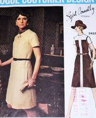 1970s STYLISH Dress Pattern VOGUE COUTURIER Design 2437 Sybil Connolly Design Color Block Version Size 10 Vintage Sewing Pattern