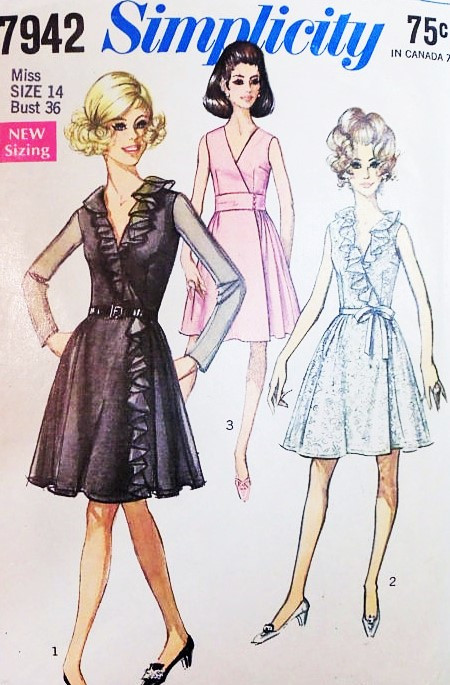 1960s FLATTERING Side Wrap Dress Pattern SIMPLICITY 7942 Party or ...