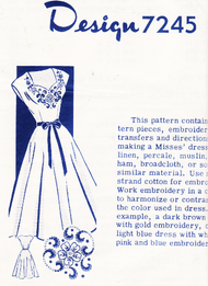 1950s FLATTERING Sweetheart Neckline Dress Pattern Design 7245 Lovely Full Skirt  Includes Embroidery Transfer Bust 30 Vintage Sewing Pattern